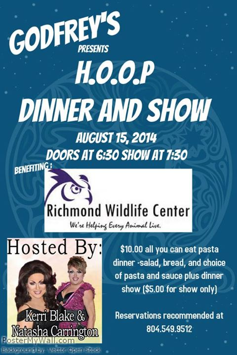 Dinner and Show at Godfrey's Benefiting the Richmond Wildlife Center