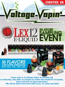Voltage Vapin' is having a tasting event with flavors that are geared towards people who like flavors with a tobacco flavor backing.
