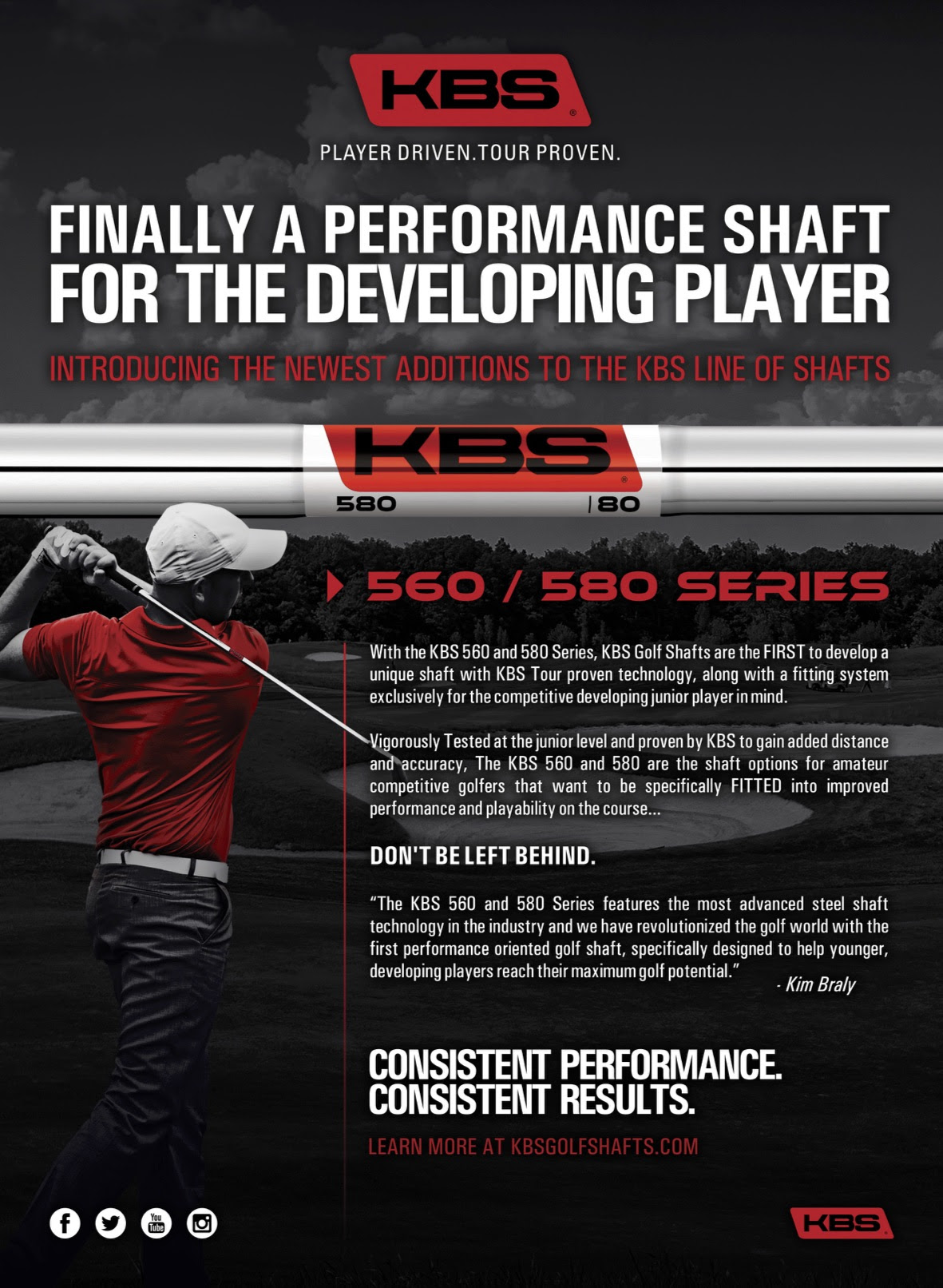 New KBS 560 & 580 shafts geared specifically to the accomplished junior golfer