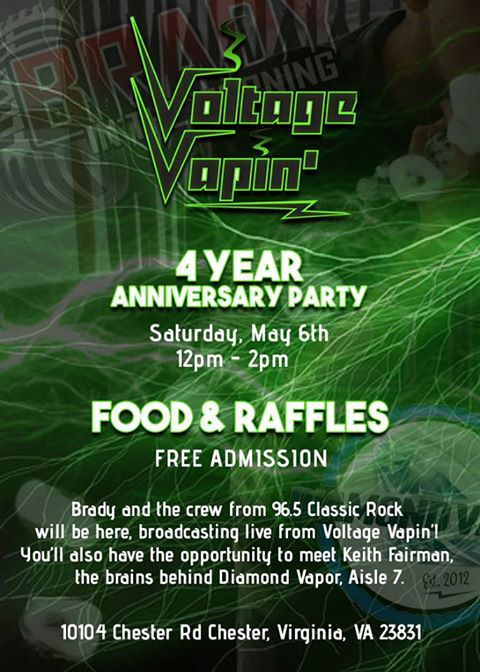 Join us at Voltage Vapin' for our 4th Anniversary!