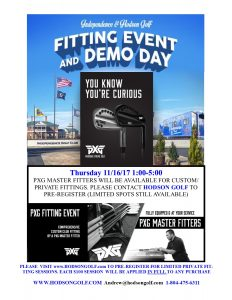 Hodson Golf & PXG Master Fitting Event Thursday 11/16/17 at Independence GC