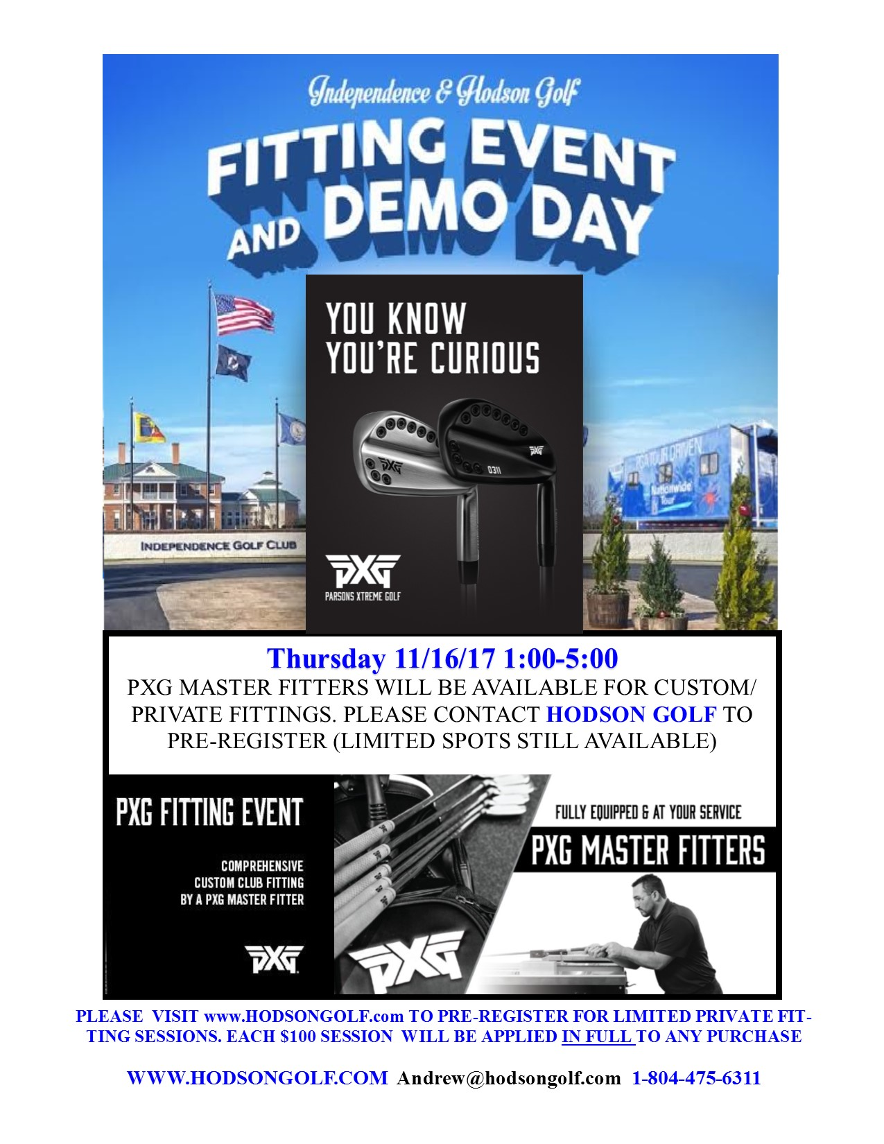 You are currently viewing Hodson Golf & PXG Master Fitting Event Thursday 11/16/17 at Independence GC
