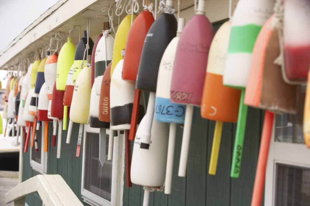 Buoys at outfitter on Virginia's Eastern Shore