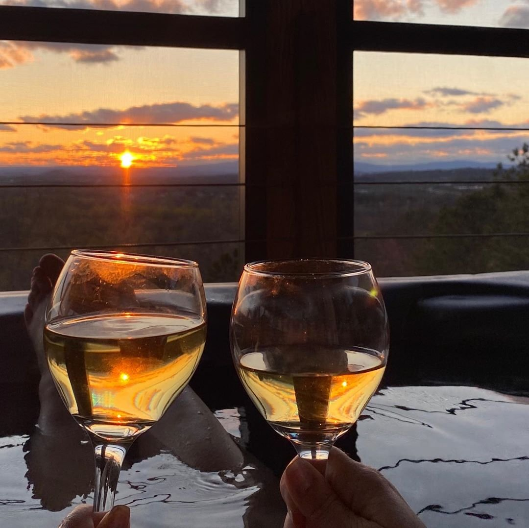 Photo by user jeffbicer, caption reads Love the way the last minute of sunlight hits our @kingfamilyvineyards Roseland. Wineries are closed but we're still enjoying the wine. #vawine #vawinecountry #fortunate