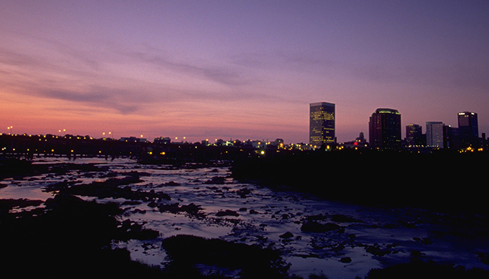 The James River and downtown Richmond skyline.